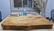 wooden restaurant serving board